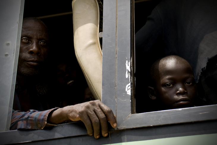 Congolese refugees flee fighting on the Ugandan border.