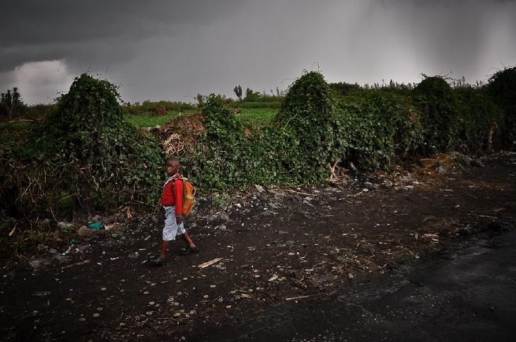 A schoolboy in Goma.