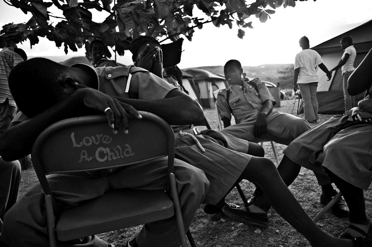 Haitian scouts at a camp near the Dominican border.