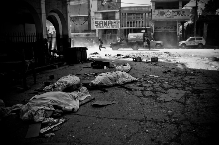 Corpses lined the streets of Port au Prince.