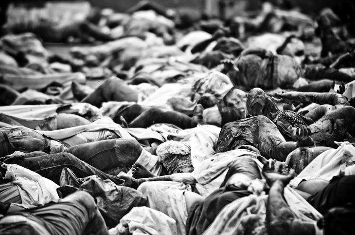 Corpses filled Port au Prince\'s General Hospital.