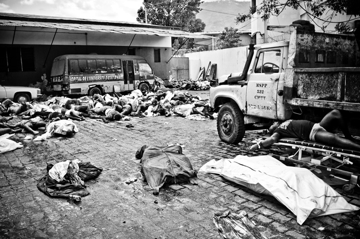 Corpses filled Port au Prince\'s General Hospital.