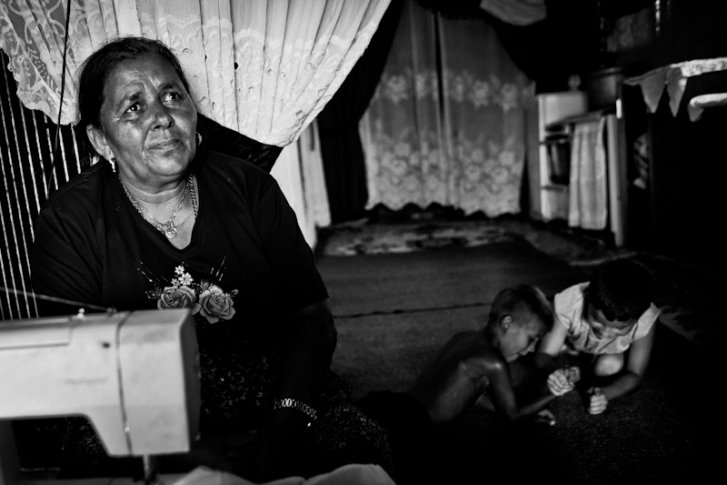 A Kosovar refugee Roma woman in Konic Camp, Podgorica Montenegro