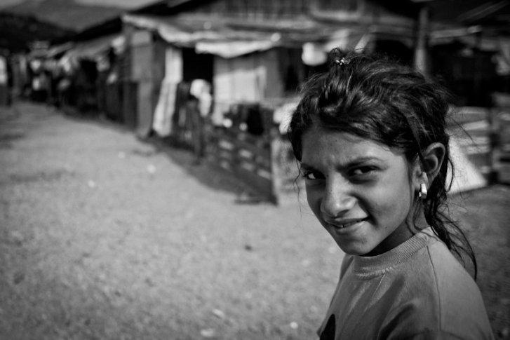 A Kosovar refugee Roma girl in Konic Camp, Podgorica Montenegro