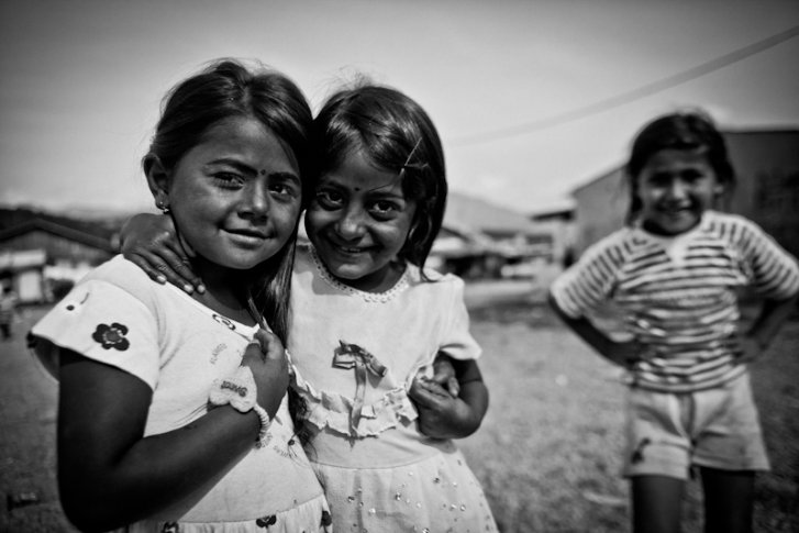 Kosovar refugee Roma children in Konic Camp, Podgorica Montenegro