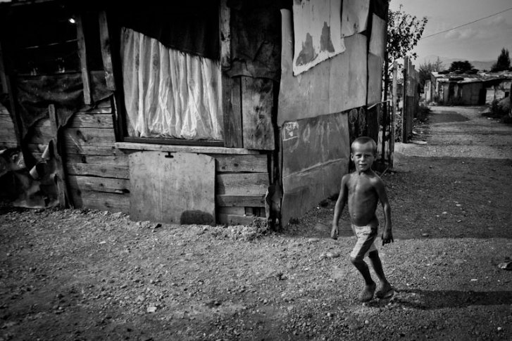 A Kosovar refugee Roma boy in Konic Camp, Podgorica Montenegro