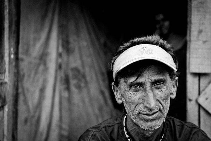 A Kosovar refugee Roma man in Konic Camp, Podgorica Montenegro