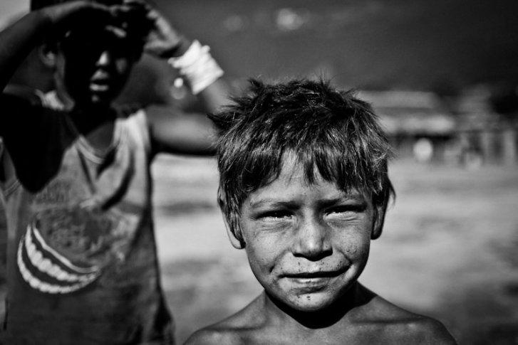A Kosovar refugee Roma boy in Podgorica Montenegro