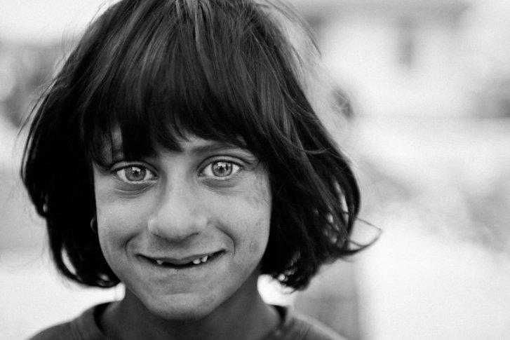 A Kosovar refugee Roma girl in Podgorica Montenegro
