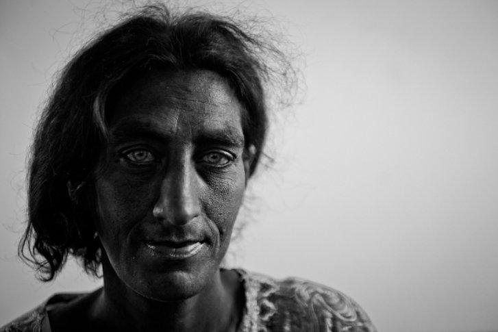 A Kosovar refugee Roma woman in Podgorica Montenegro
