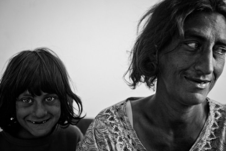 A Kosovar refugee Roma woman and girl in Podgorica Montenegro