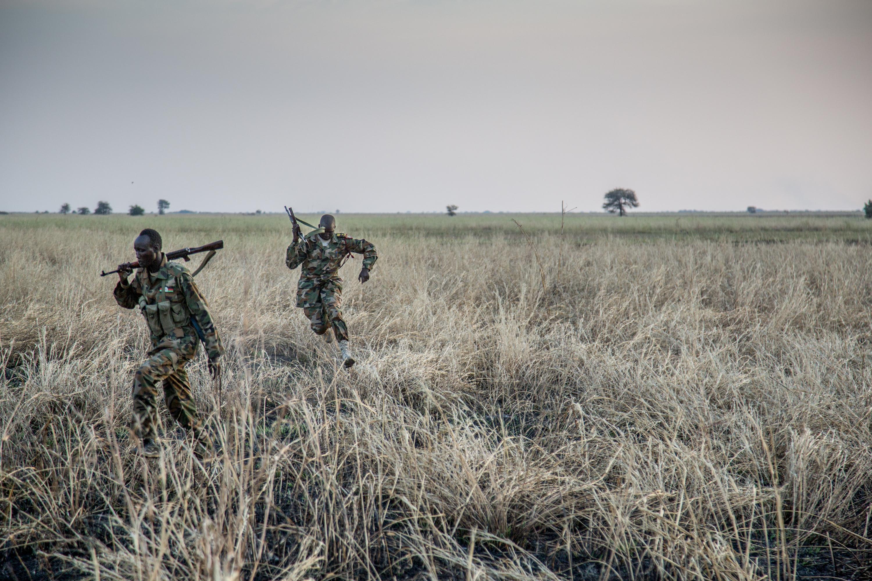 Defected SPLA fighters between Waat and Akobo, in rebel-held South Sudan.